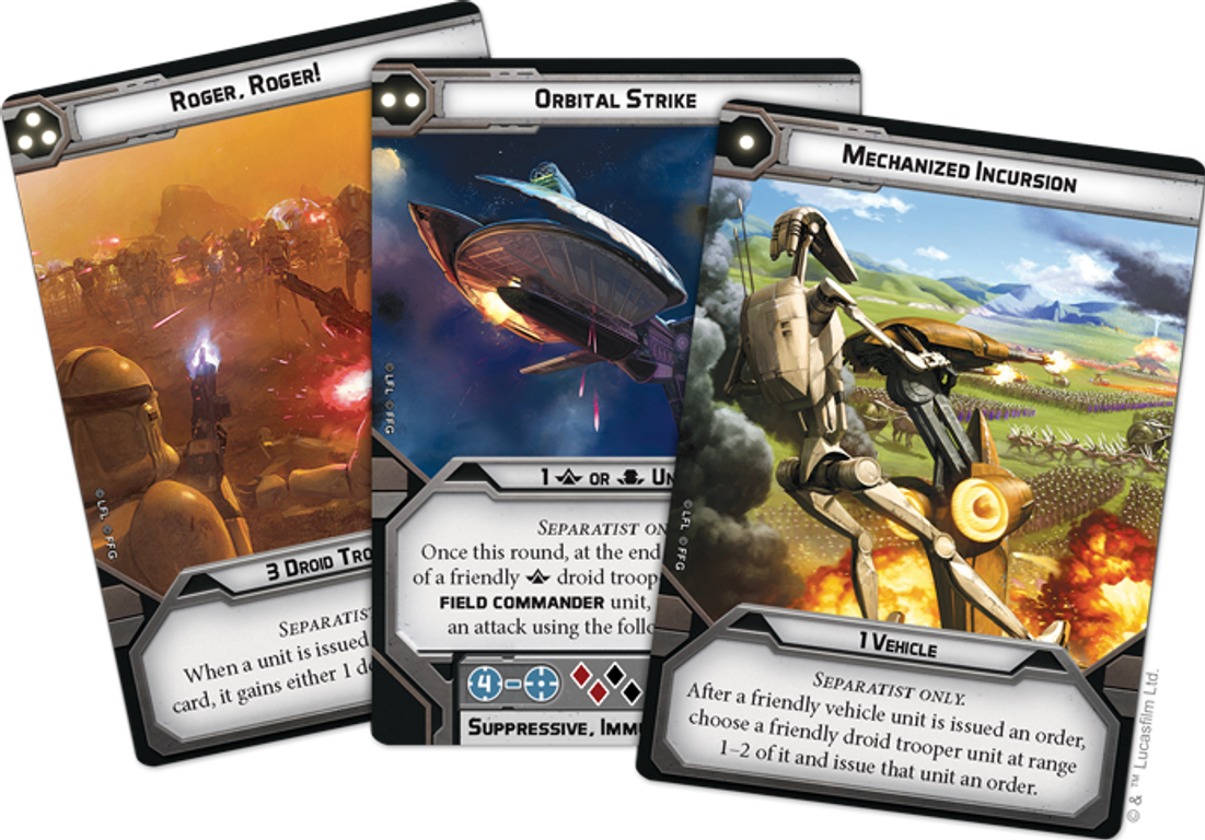 Star Wars: Legion – Separatist Specialists Personnel Expansion cards