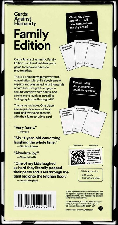 Cards Against Humanity: Family Edition back of the box