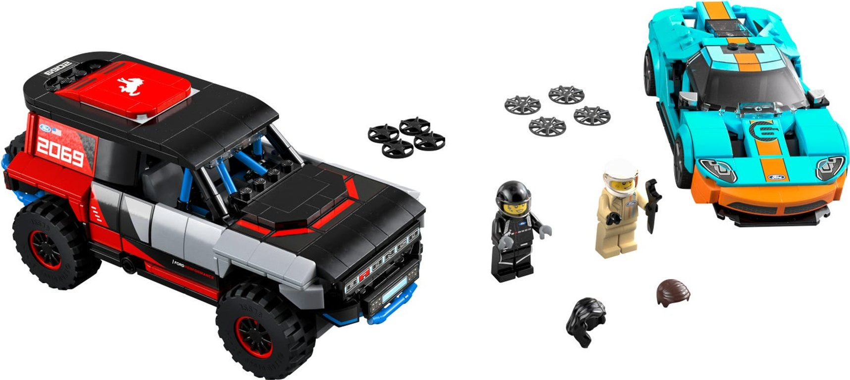 LEGO® Speed Champions Ford GT Heritage Edition and Bronco R components