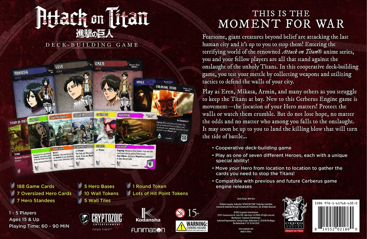 Attack on Titan: Deck-Building Game back of the box
