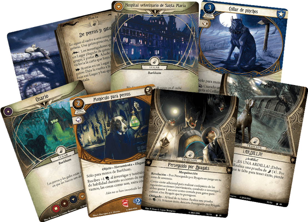 Barkham Horror: The Card Game - The Meddling of Meowlathotep: Scenario Pack cards