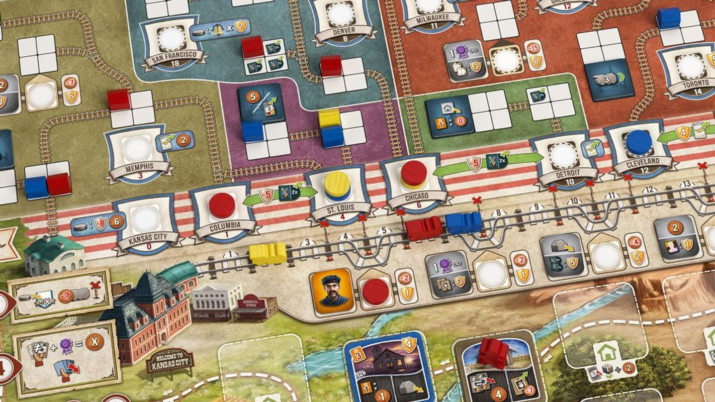 Great Western Trail: Rails to the North game board