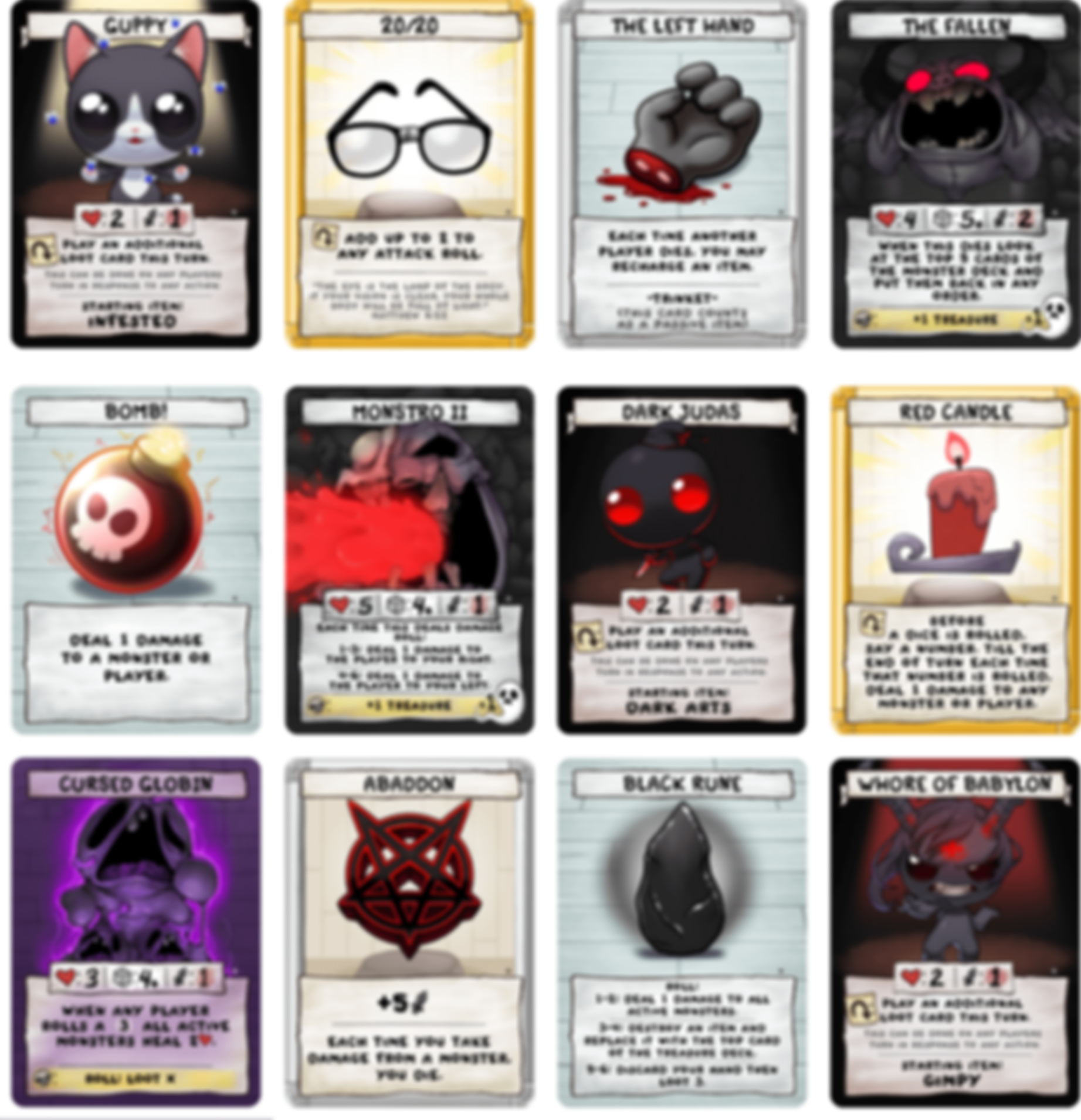 The Binding of Isaac: Four Souls + cards