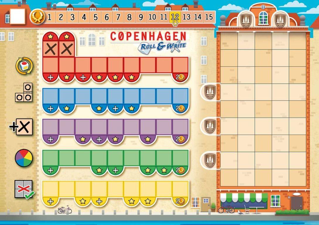 Copenhagen: Roll & Write game board