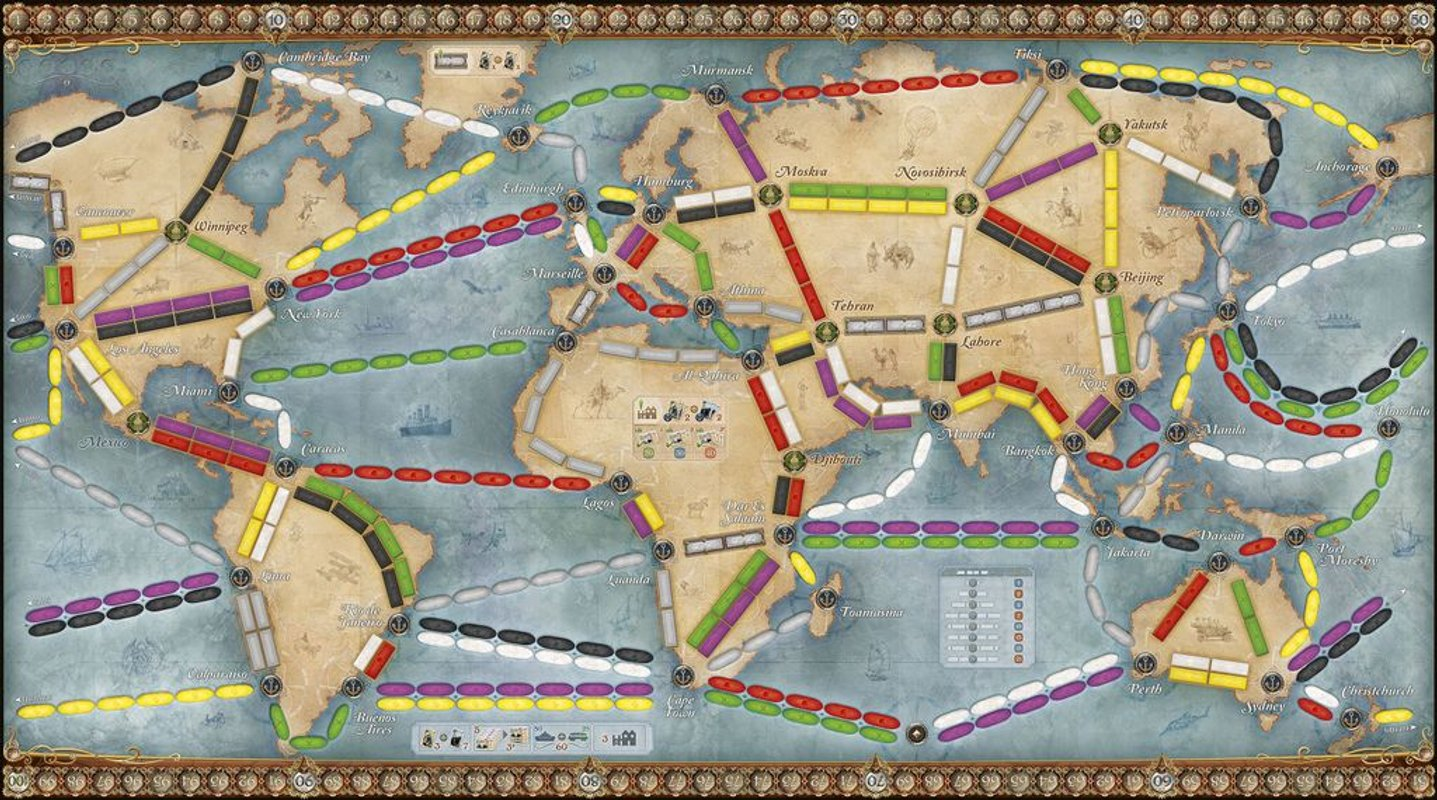 Ticket to Ride: Rails & Sails game board