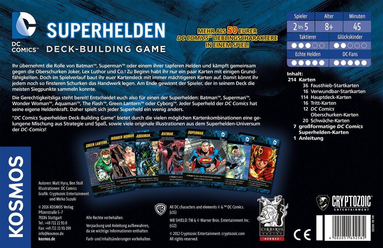 DC Comics Deck-Building Game back of the box