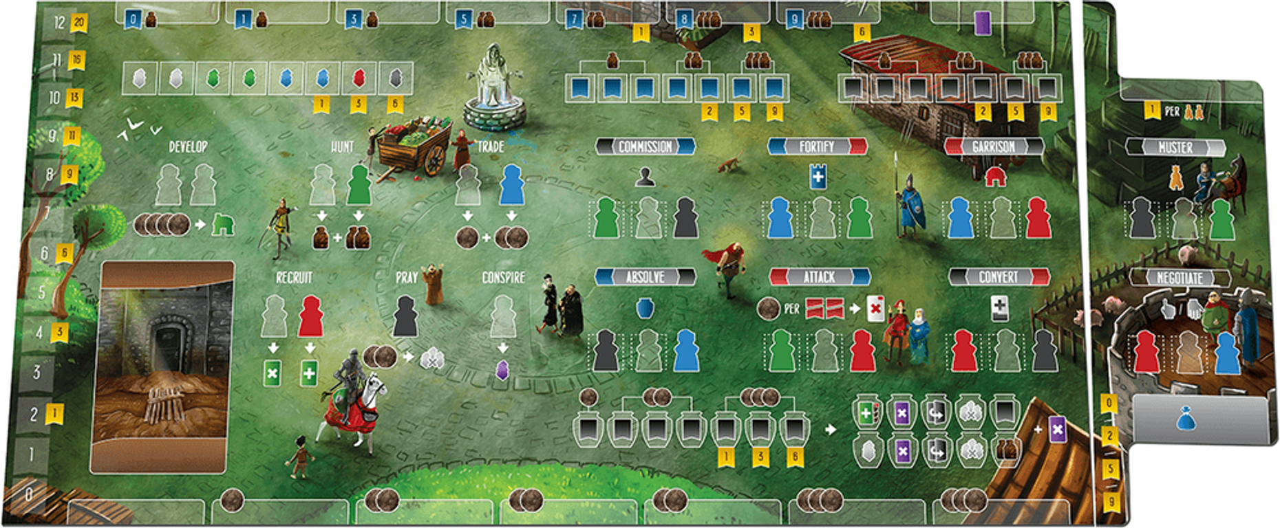 Paladins of the West Kingdom: City of Crowns game board