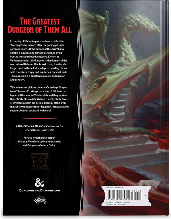 D&D Waterdeep Dungeon of the Mad Mage (D&D Adventure) back of the box