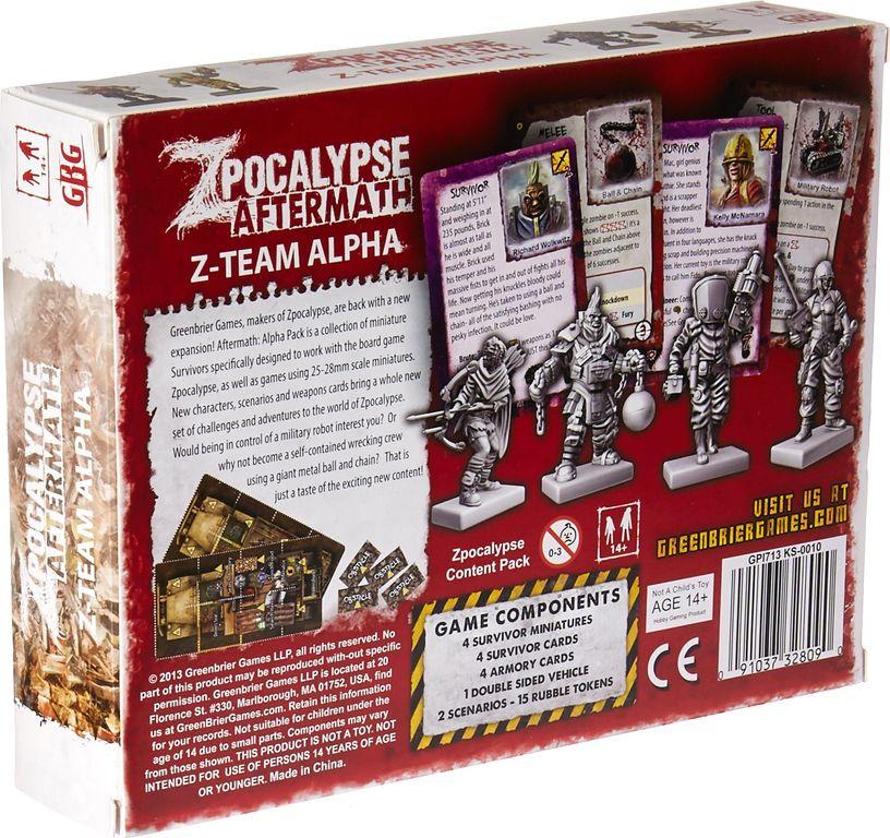 Zpocalypse: Aftermath - Z-Team Alpha Pack back of the box