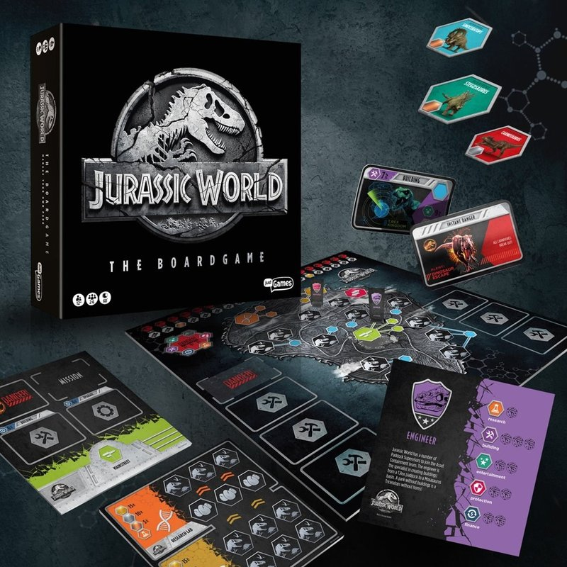 Jurassic World: The Boardgame components