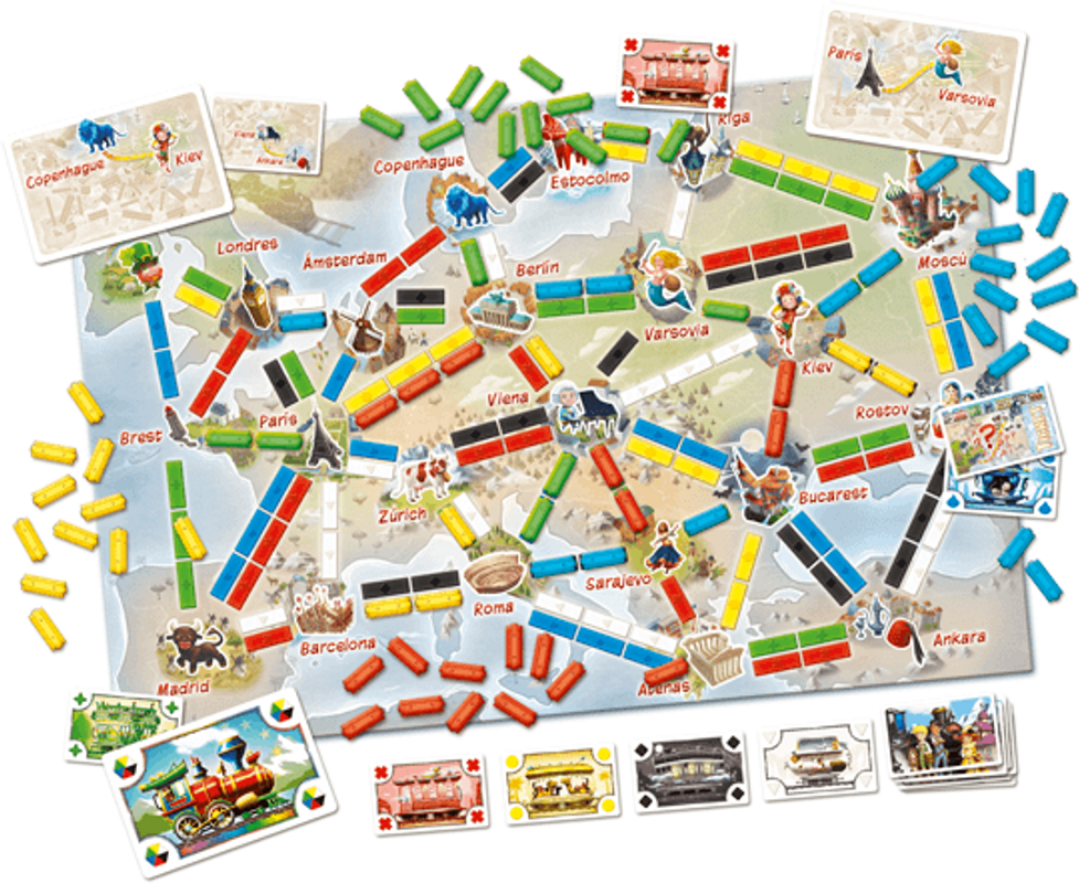 Ticket to Ride: First Journey (Europe) components