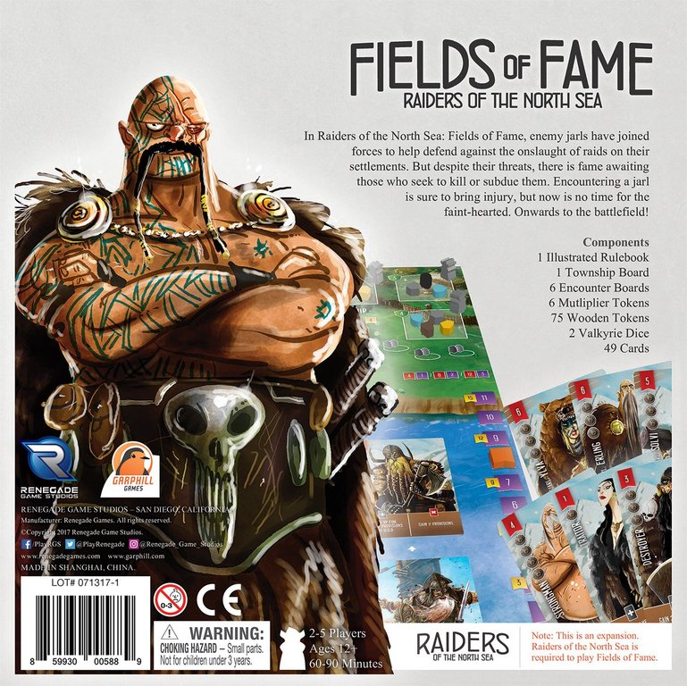 Raiders of the North Sea: Fields of Fame back of the box