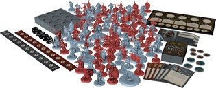 A Song of Ice & Fire: Tabletop Miniatures Game - Stark vs Lannister Starter Set components