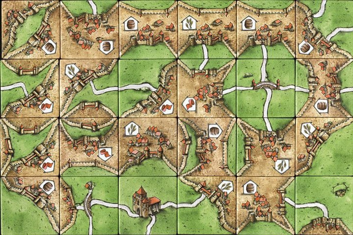 Carcassonne: Traders & Builders game board
