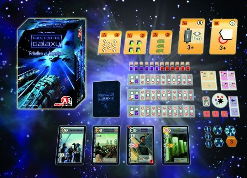 Race for the Galaxy: Rebel vs Imperium components