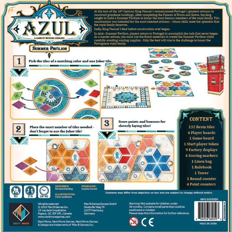 Azul: Summer Pavilion back of the box