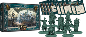 A Song of Ice & Fire: Tabletop Miniatures Game – Greyjoy Heroes I components