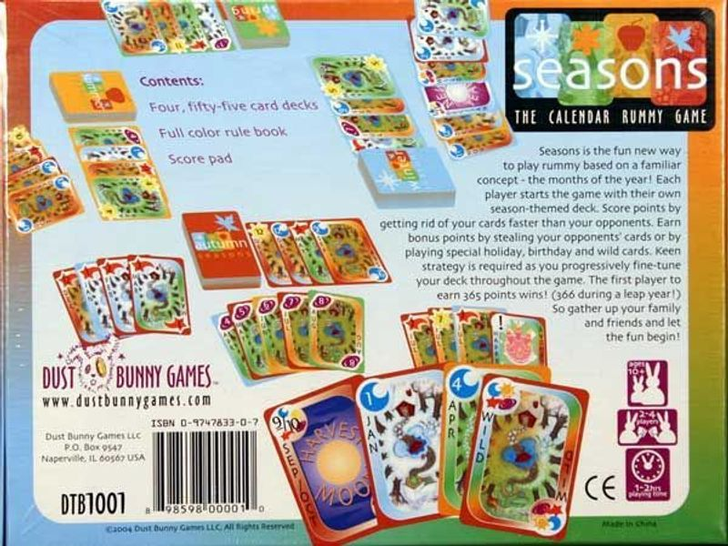 Seasons: The Calendar Rummy Game back of the box