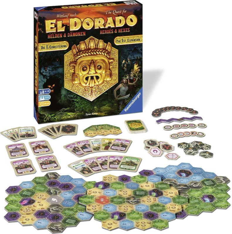 The Quest for El Dorado: Heroes & Hexes components