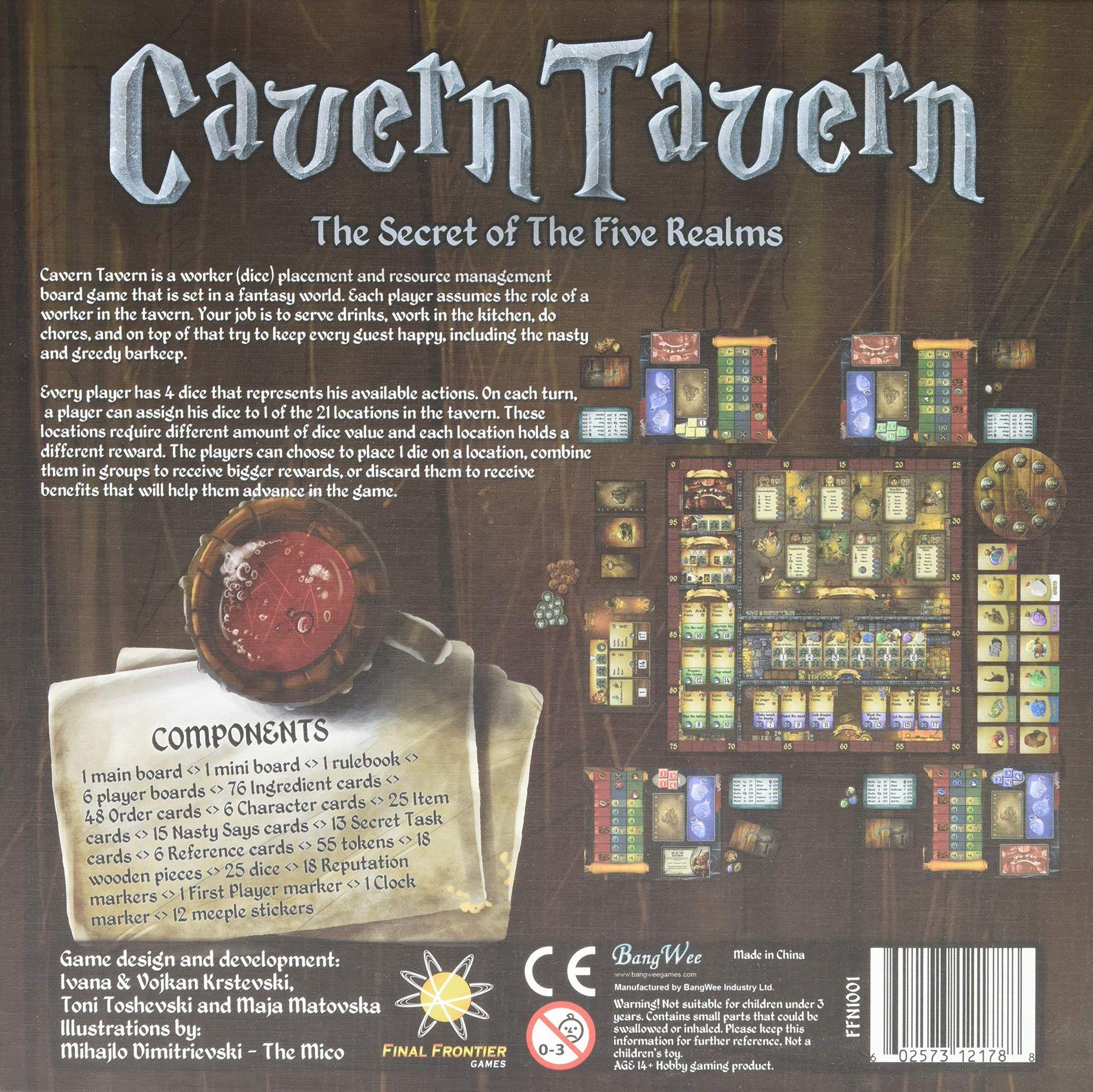 Cavern Tavern back of the box
