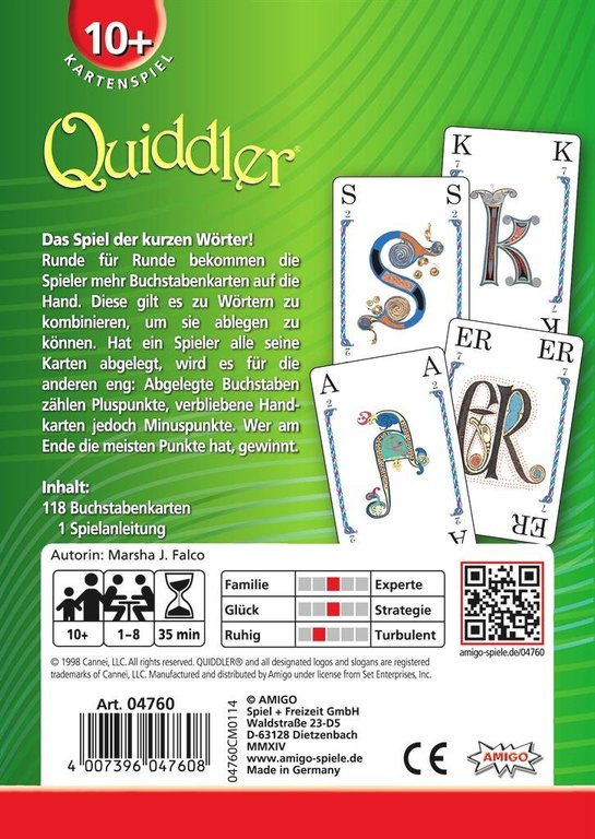 Quiddler back of the box