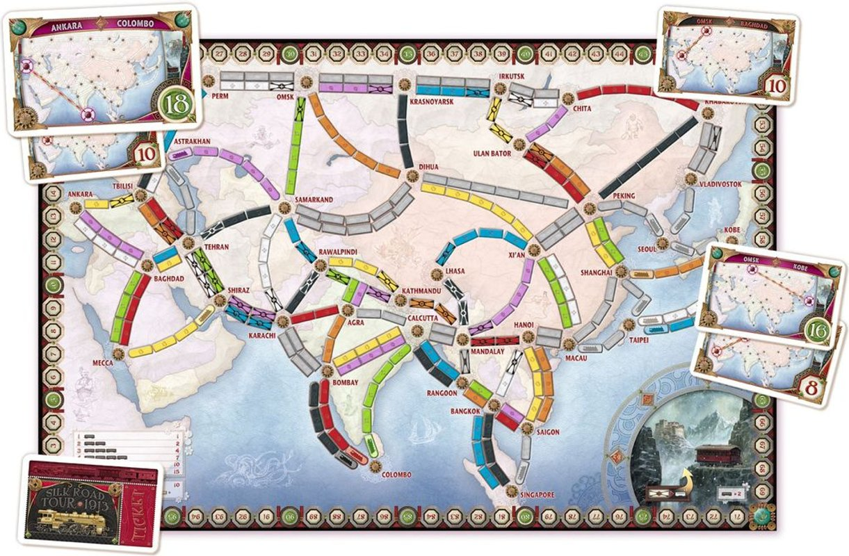 Ticket to Ride Map Collection: Volume 1 - Team Asia & Legendary Asia componenten