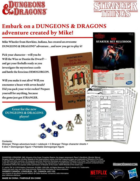 Stranger Things Dungeons & Dragons Starter Set parte posterior de la caja