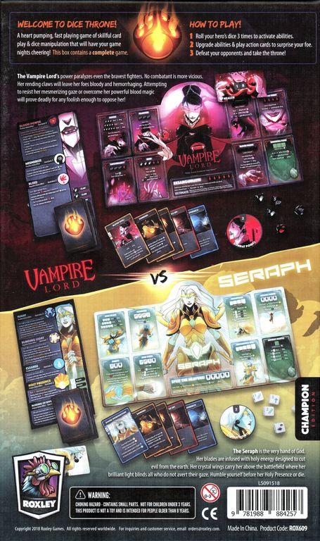 Dice Throne: Season Two - Vampire Lord v. Seraph back of the box