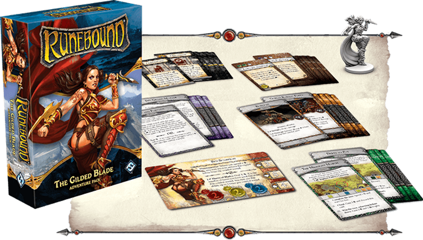 Runebound (Third Edition): The Gilded Blade - Adventure Pack components