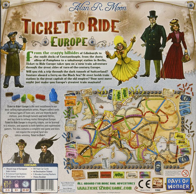 Ticket to ride Europe back of the box