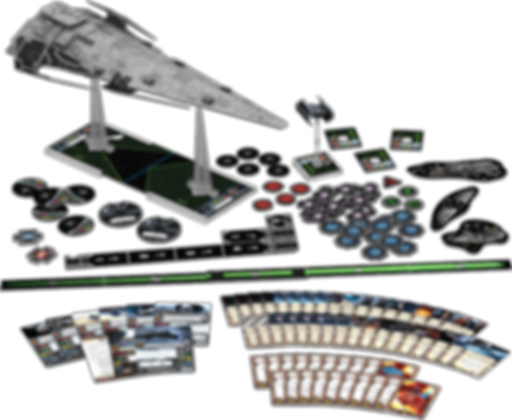 Star Wars: X-Wing Miniatures Game - Imperial Raider Expansion Pack components