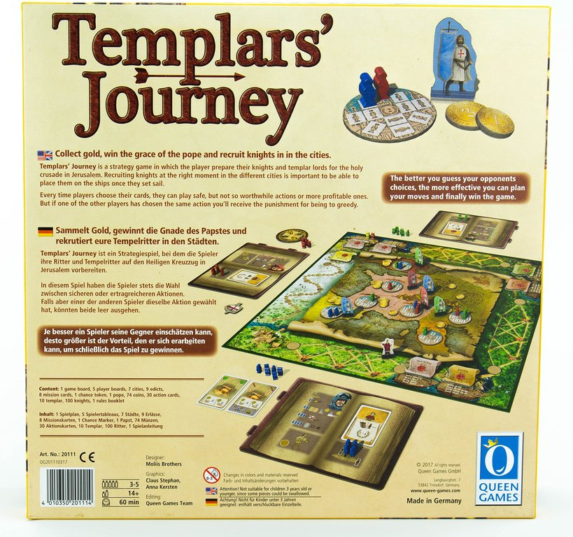 Templars' Journey back of the box