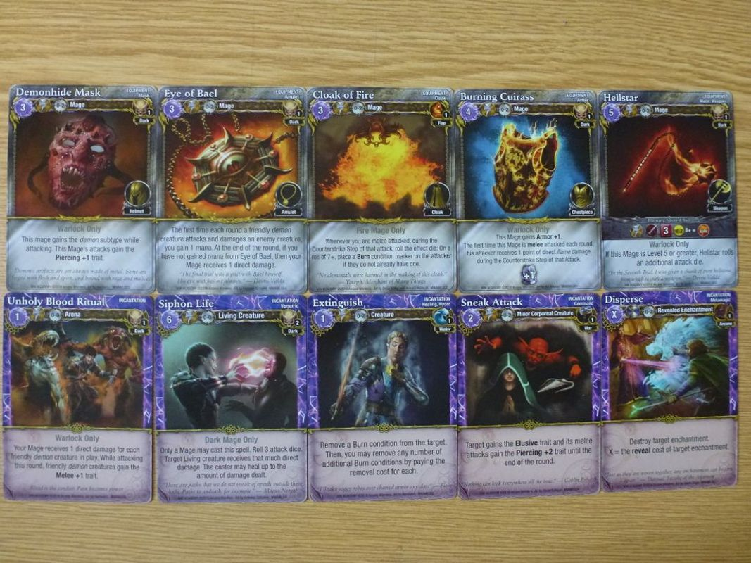 Mage Wars: Academy - Warlock Expansion cards