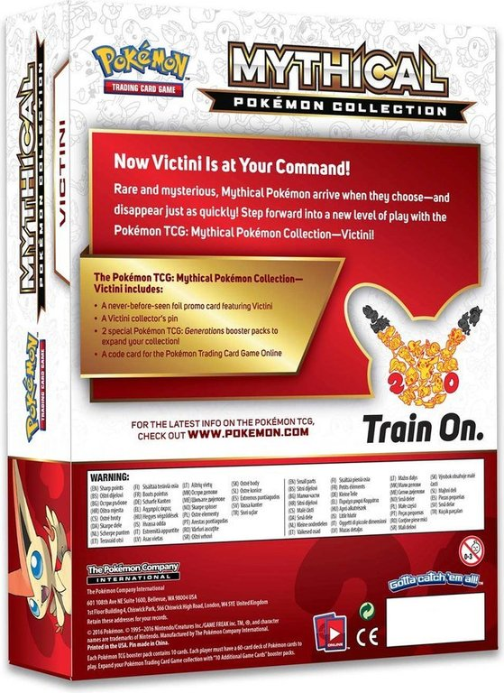 Pokémon TCG: Mythical Pokémon Collection - Victini back of the box