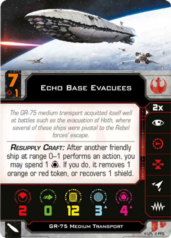 Star Wars: X-Wing (Second Edition) - Epic Battles Multiplayer Expansion Echo base evacuees card