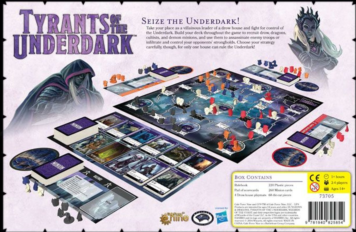 Dungeons & Dragons: Tyrants of the Underdark back of the box