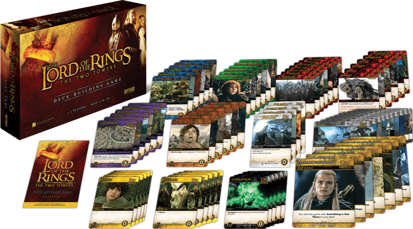 The Lord of the Rings: The Two Towers Deck-Building Game components