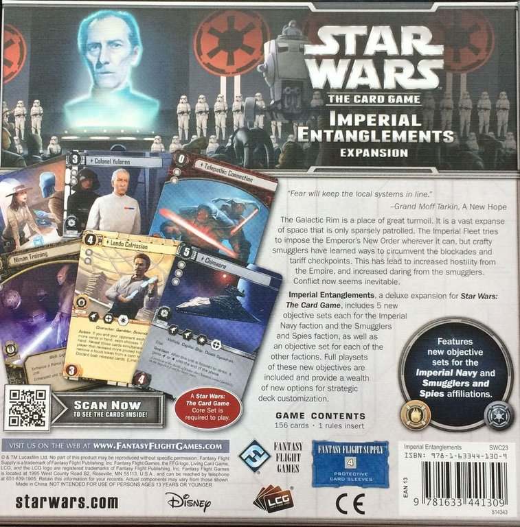 Star Wars: The Card Game - Imperial Entanglements back of the box