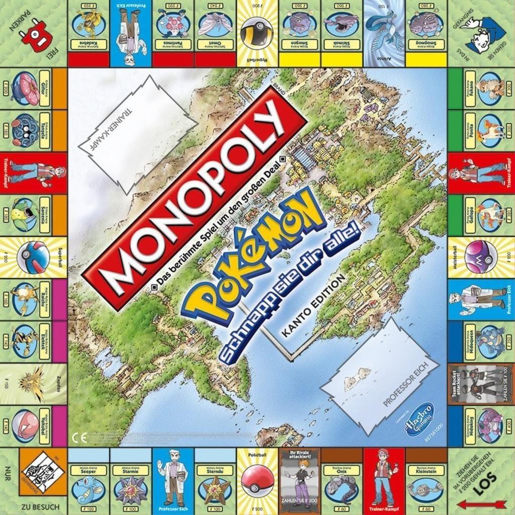 Monopoly: Pokémon Kanto game board
