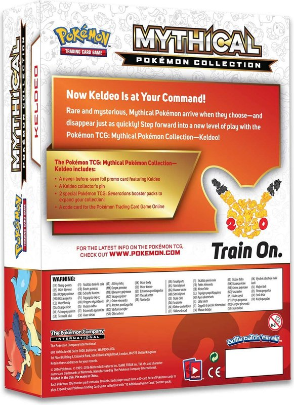 Pokémon Trading Card Game - 20th Anniversary Pin Box - Keldeo back of the box