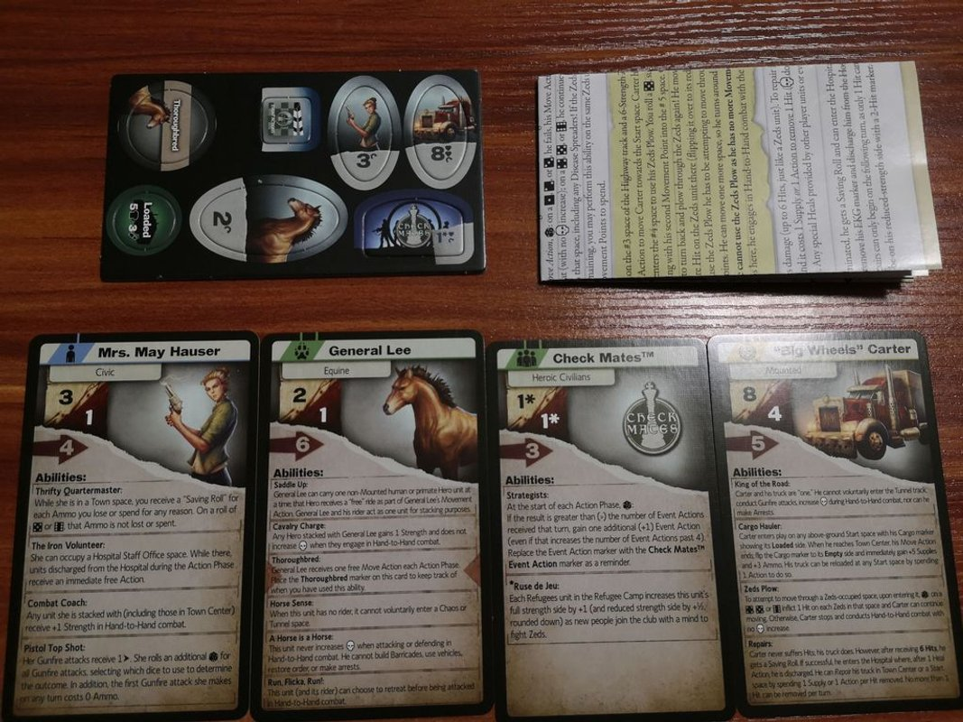 Dawn of the Zeds (Third edition): Expansion Pack #1 - Stepping Forward components
