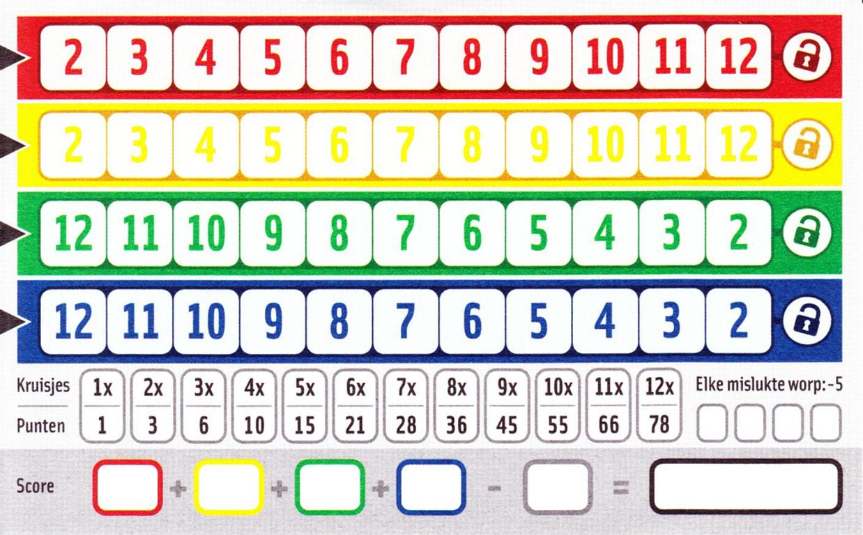 Qwixx game board