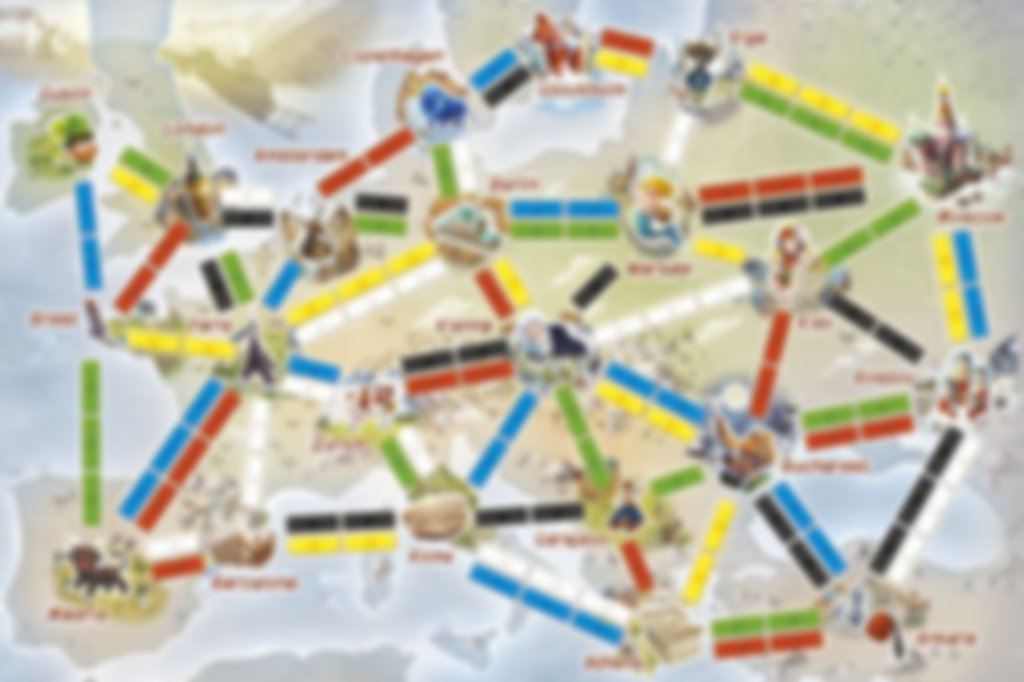 Ticket to Ride: First Journey (Europe) game board