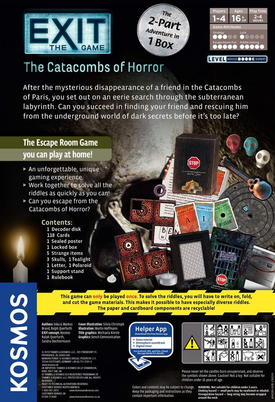 Exit: The Game - The Catacombs of Horror back of the box