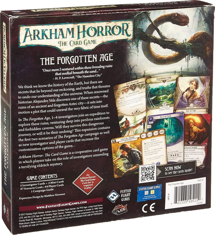 Arkham Horror: The Card Game - The Forgotten Age: Expansion back of the box