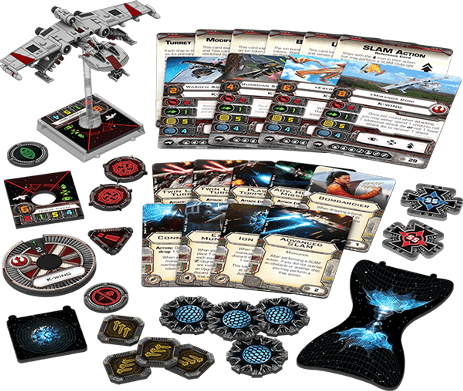 Star Wars: X-Wing Miniatures Game - K-wing Expansion Pack components