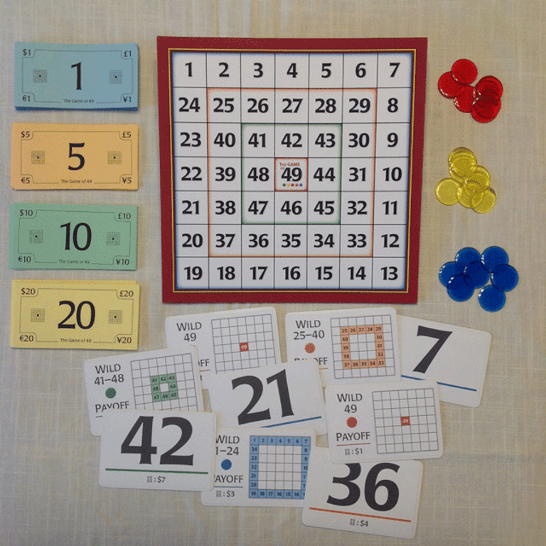 The Game of 49 components
