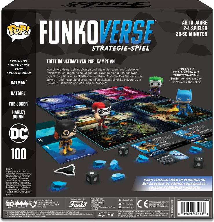 Funkoverse Strategy Game: DC 4-Pack back of the box