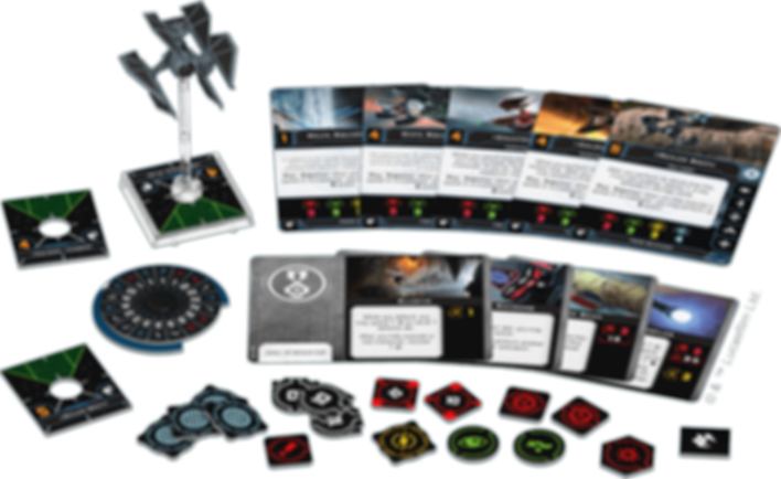 Star Wars: X-Wing Miniatures Game - TIE Defender Expansion Pack components