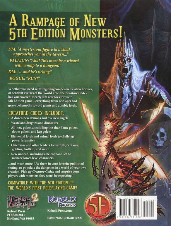 Creature Codex back of the box